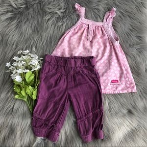 Naartjie Kids Pink Tank Top Purple Bottom Set